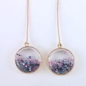 14k diamond, sapphire aquamarine shaker earrings